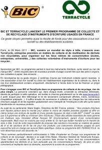 Microsoft Word - relanceBIC-TerraCycle_CP_09MAR11.doc